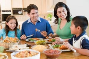 Family enjoys table talk together